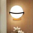 1 Bulb Orb Wall Light Sconce Nordic Modern Opal Glass Art Deco Wall Lamp in Black Finish