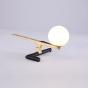 Globe Table Lamp Designers Style Opal Glass 1 Head Table Light in Brass for Coffee Shop