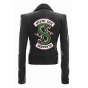 New Stylish Letter SOUTH SIDE Snake Logo Print Back Long Sleeve Lapel Collar Zip Up Biker Jacket