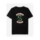 Trendy Snake Logo Letter SOUTH SIDE Print Basic Short Sleeve Round Neck Casual Graphic Tee