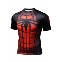 Cool 3D Spider Man Printed Short Sleeve Breathable Quick Dry Sport Compression Fitness Black T-Shirt