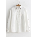 Cute Bow Embroidered Lapel Collar Long Sleeve Single Pocket Patched Chest White Button Shirt