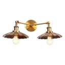 Brass Finish Scallop Shade Wall Lamp Industrial Retro Style Iron 2 Heads Wall Light