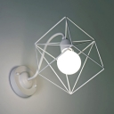 Square Wall Mount Fixture with Metal Cage Simplicity Single Head Sconce Light in White