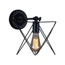 Black Finish Open Bulb Wall Light with Star Wire Cage Retro Style Metallic 1 Head Sconce Light