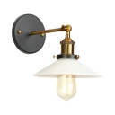 Shallow Round Shade Wall Sconce Modernism Milky Glass 1 Head Wall Lamp in Brass Finish