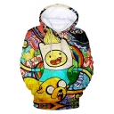 New Trendy 3D Cartoon Adventure Time Printed Long Sleeve Loose Sport Hoodie