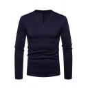 Men's Simple Plain Long Sleeve V-Neck Basic Fitted T-Shirt