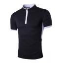 Stylish Half-Zip Stand Collar Short Sleeve Colorblock Men's Slim Black T-Shirt