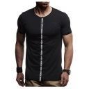 Men's Cool Vertical Letter Webbing Front Basic Round Neck Short Sleeve Fitness T-Shirt