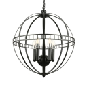 Industrial Orb Chandelier 5 Light 20 Inch Wide with Metal Cage in Black