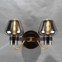 Mushroom Wall Light Fixture Designer Style Smoke Glass 2 Heads Wall Mount Light for Coffee Shop
