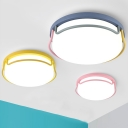 Nordic Style Round LED Flushmount Sitting Room Glass Shade Ceiling Flush Mount for Children Bedroom