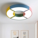 Metallic Round Shape Flushmount Modern Chic Living Room LED Ceiling Fixture in Multicolor/Black and White