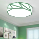 Metallic LED Ceiling Light with Geometric Shape Gray/Green Lighting Fixture for Coffee Shop
