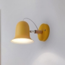Bell Shade 1 Light Sconce Light Nordic Green/Yellow Metal Wall Mount Light for Children Bedroom