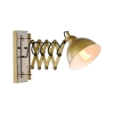 Brass Finish Dome Wall Light Retro Style Extendable Iron Single Light Wall Light Sconce for Study Room