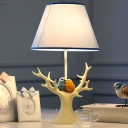 1 Light Tapered Reading Light with Beige Resin Bird Decoration Lodge Style Indoor Standing Table Light