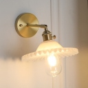 Opal Glass Scalloped Wall Sconce Simple Modern Rotatable Single Bulb Wall Lamp in Brass