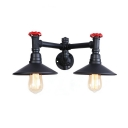 2 Lights Shallow Round Sconce Light with Red Valve Industrial Metallic Wall Mount Light