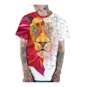 Cool 3D Line Geometric Tiger Print Short Sleeve Round Neck Red and White T-Shirt