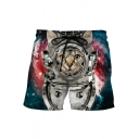Men's Cool 3D Galaxy Astronaut Cat Print Drawstring Waist Casual Blue Swim Shorts