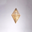 Stainless Geometric Pendant Light Designers Style 1 Head Suspended Light in Gold with Mesh Cage