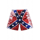 Men's Creative Red Star Striped Printed Drawstring Waist Summer Beach Swim Shorts
