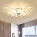 2 Tiers Bloom LED Ceiling Lamp with Metal Canopy Modern Simple Multi Light Semi Flushmount