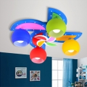 Windmill Ceiling Light Baby Kids Room Glass Shade 3/4 Lights Flush Light in Dark Blue/Light Blue