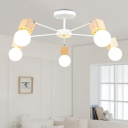 Metallic Sputnik Chandelier Nordic Style Rotatable 3/5/8 Heads Hanging Light in Wood