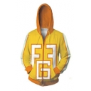 Yellow 3D Colorblocked Long Sleeve Loose Fitted Zip Up Drawstring Hoodie