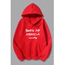 Funny Arrow Letter SHE'S MY MONICA Printed Long Sleeve Relaxed Casual Hoodie