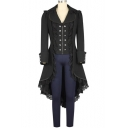 Women's Black Tuxedo Gothic Tailcoat Jacket Steampunk VTG Victorian Coat Wedding Uniform