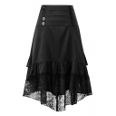New Trendy Double-Breasted Front Lace-Trimmed Retro Ruffled Midi A-Line Skirt