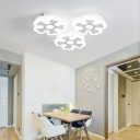 Nordic Style Flower Ceiling Lamp Metallic 3/7 Heads Lighting Fixture in White for Living Room
