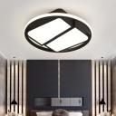 Black Circle Flush Light Fixture with Trapezoid Shade Contemporary Acrylic Surface Mount LED Light