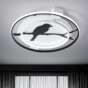 Black Bird Pattern Ceiling Light with Halo Ring Simplicity Metal LED Flush Mount for Foyer
