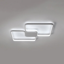 Modern Fashion Ultrathin Flush Mount Light Metal 2 Lights LED Flush Light in White for Bedroom