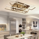 Multi-Layer Surface Mount Ceiling Light Modern Metallic 6/7/9 Heads LED Semi Flush Light in Brown