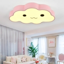 Acrylic Shade Cloud Flushmount Kindergarten LED Ceiling Flush Mount in White/Third Gear