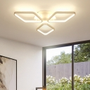 White Ultra Thin Semi Flush Mount Modern Fashion Silicon Gel Eye Protection LED Bedroom Lighting