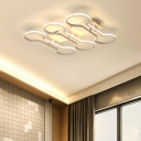 Linear Canopy LED Semi Flush Mount Light Modern Fashion Acrylic 2/3 Heads Ceiling Lamp in Warm/White