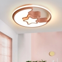 Star Flush Mount Lighting with Halo Ring Baby Kids Room Acrylic LED Ceiling Lamp in Blue/Pink