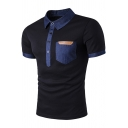Unique Contrast Chambray Patched Pocket Chest Short Sleeve Slim Fit Polo for Men