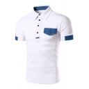 Fashion Denim Patched Pocket Short Sleeve Summer White Slim Fit Polo for Men