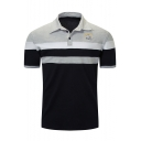 Fashion Striped Printed Letter Logo Embroidered Short Sleeve Men's Classic-Fit Polo Shirt