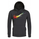 Unique Logo Printed Long Sleeve Fitted Unisex Pullover Drawstring Hoodie
