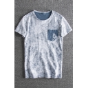 Men's One Pocket Patched Distressed Floral Printed Summer Loose Fit T-Shirt