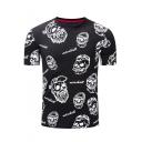 Stylish Allover Pattern Crewneck Short Sleeve Men's Fitted Black T-Shirt